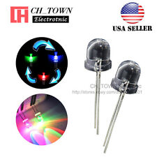 50pcs 10mm Rainbow Water Clear RGB Slow Flash Flashing Transparent LED Diodes