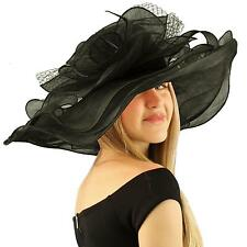 "Summer Kentucky Derby Wide 6""+ Brim Layers Floppy Feathers Net Floral Hat Black"