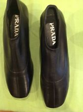 PRADA Women's Black Leather Shoes Size Us 6 Eur 36 Excellent Cond.