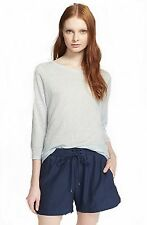 NWT $125 VINCE LINEN BLUE THREE QUARTER 3/4 SLEEVE TEE SHIRT SMALL FREE SHIP!!!