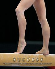 Gymnastics Motivational Poster Art Print Balance Beam Bars Mat Leotard  MVP444