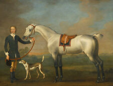 "perfect 36x24 oil painting handpainted on canvas"" a man,a horse,a dog""@5819"