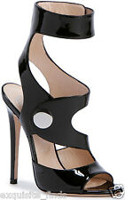 New VERSACE Black Cut-out patent leather sandals 37 - 7