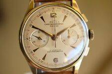 GORGEOUS 18K SOLID GOLD VINTAGE CHRONOGRAPH SUISSE WATCH RARE ORIGINAL CONDITION