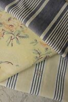 Antique Vintage French fabrics yellow + blue ticking floral old  PROJECT BUNDLE