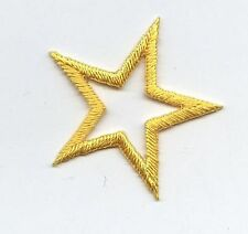 "Iron On Embroidered Applique Patch Open Star 1.25"" Yellow 150023 SET 10 PCS"