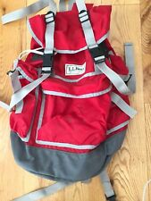 RARE LL Bean Vintage Vtg Red Backpack Daypack Rucksack Shoulder Book Bag canvas