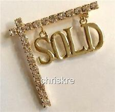Real Estate Agent Gold Crystal Pin Brooch Realtor Gift SOLD House Sign USASeller
