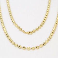Men's Gold Plated .925 Sterling Silver Diamond Cut Moon Ball Bead Chain