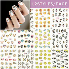 12 Design Cartoon Decals Water Transfer Nail Sticker Set Nail Art NS162