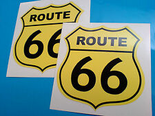 ROUTE 66 Black on Cream Retro Car Hot Rod Motorhome Stickers Decals 2 off 100mm