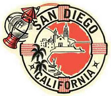 SAN DIEGO, CA   California    Vintage 1950's-Style   Travel Decal/Sticker/Label