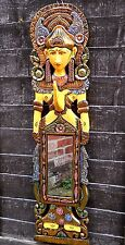 BEAUTIFUL CARVED WOODEN MIRROR THAI BUDDHA Large 100 cm HOME DÉCOR MULTI COLOUR