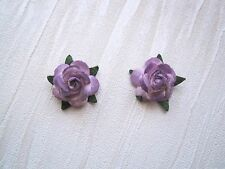 OMBRE PINK to PURPLE ROSE STUD SILVER PLATED 15mm Earrings Rockabilly Gothic NEW