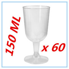 60 PK DISPOSABLE PARTY PLASTIC CLEAR WINE GLASS CUPS ALL Occasions FUNCTIONS AP