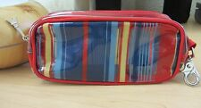 Lancome Red Striped Semi-Transparent Waterproof Hook Cosmetic Case Bag Purse