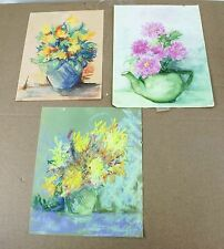 Lot of 3 Original Drawings Sketches Pastel Still Life Vase With Flowers Signed