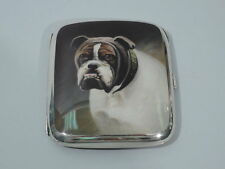 Antique Cigarette Case - Bulldog Bull Dog - European 900 Silver & Enamel