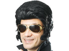 LARGE Nero Elvis QUIFF Parrucca & Coda il re FANCY DRESS