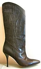 AUTH NEW JUST CAVALLI BROWN LEATHER KNEE BOOTS, EU38/UK5