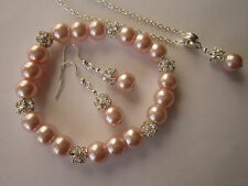 Silver Plated Jewellery Set in Pink Pearl and Rhinestone Beads