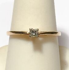 14k Yellow Gold .10ct Princess Cut Diamond Engagement Ring Sz 8.25
