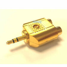 GOLD Twin 2 RCA Phono Female Sockets to 3.5mm Mini Jack Audio Aux Adapter