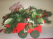 Vtg Wood Wagon Holly Pine Cones Berries Balls Center Mantle Piece 20""