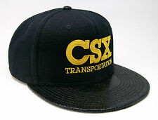 CSX Transportation Railroad Embroidered Snakeskin Flat Visor Cap Hat #40-3022SS