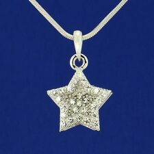"W Swarovski Crystal Clear Star Wish Double Layer New Pendant Necklace 18"" Chain"