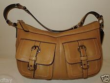 COACH CHELSEA HANDBAG HOBO BROWN LEATHER 14014 TWO FRONT POCKETS MINT  $348