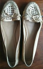 KATE SPADE LEATHER LOAFERS-GOLD, SIZE 9