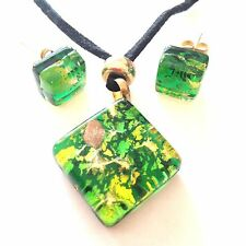 GREEN GOLD AUTHENTIC VENETIAN MURANO GLASS NECKLACE EARRINGS JEWELRY SET 1MG