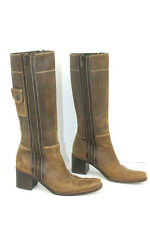 Vtg 90s MIU MIU brown distressed leather sides zipper chunky heels boots 38.5