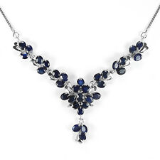 Sterling Silver 925 Genuine Natural Rich Blue Sapphire Cluster Necklace 18 Inch