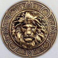 "EXTRA SUPER LARGE 3"" INCH Stamped Brass Vintage Style ""LION KING ""Picture Button"