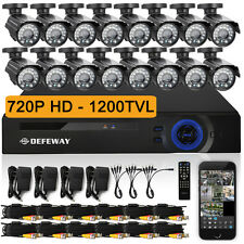DEFEWAY 16 CH 1080N  HDMI DVR 1200TVL HD Surevillance Security Camera System