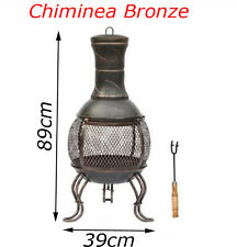 Cast Iron Bronze Chiminea Garden Outdoor BBQ Log Charcoal Wood Burner Heater Pat