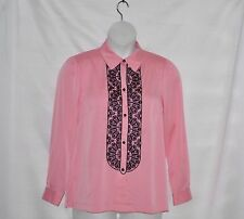 Bob Mackie Lace Embroidered Button Front Blouse Size S Rose
