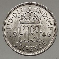 1946 UK Great Britain United Kingdom KING GEORGE VI Silver SIXPENCE Coin i56883