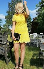 Abito in pizzo Zara Giallo Breve Mini Shift Dress Blogger Taglia Media