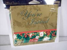 Christmas Invitations Gold Holly Leaf w/ Env Pack 8 Party Dinner Leaves
