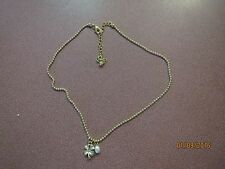 "GOLD TONE DAINTY CHARMS FAKE PEARL  DAISY W  TINY CRYSTAL ON Necklace 18"" CHAIN"