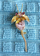 Vintage Made in Austria crystal foiled rhinestone bee, fly, mouse brooch