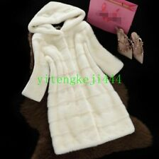 Winter Womens Mid Long Warm Coat Leather Fox Mink FUR Hooded Parka Overcoat New