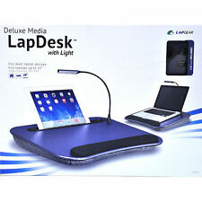 Deluxe Media Lap desk w/Lamp Navy Blue