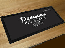 Personalised Family Bar & grill sign bar runner mat kitchen black