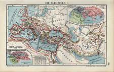Landkarte map 1910: DIE ALTE WELT. I/II. West-Röm. Reich Germanien Schlachten