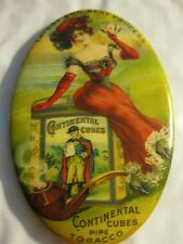 Orig Celluloid CONTINENTAL CUBES PIPE TOBACCO ADVERTISING Pocket Mirror SexyLady