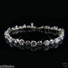 18k white Gold GF Swarovski crystals elements adjustable bangle bracelet